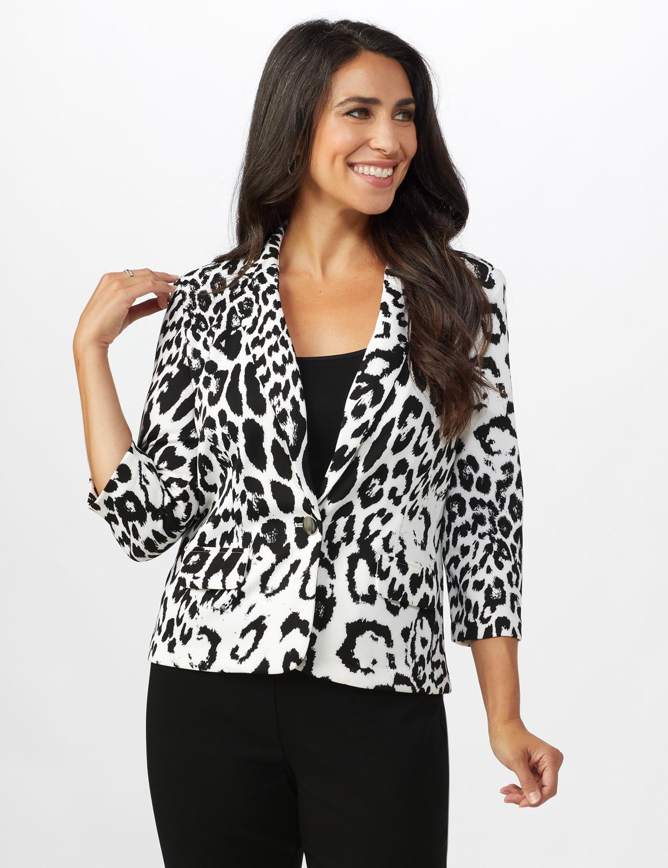 Animal Print Scuba Crepe Jacket with Faux Flap Pockets - Black/white - Front