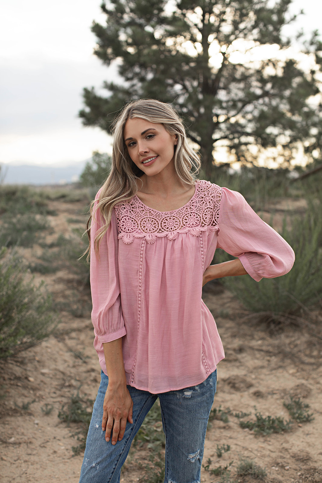 Crochet Textured Blouse - Blush - Front