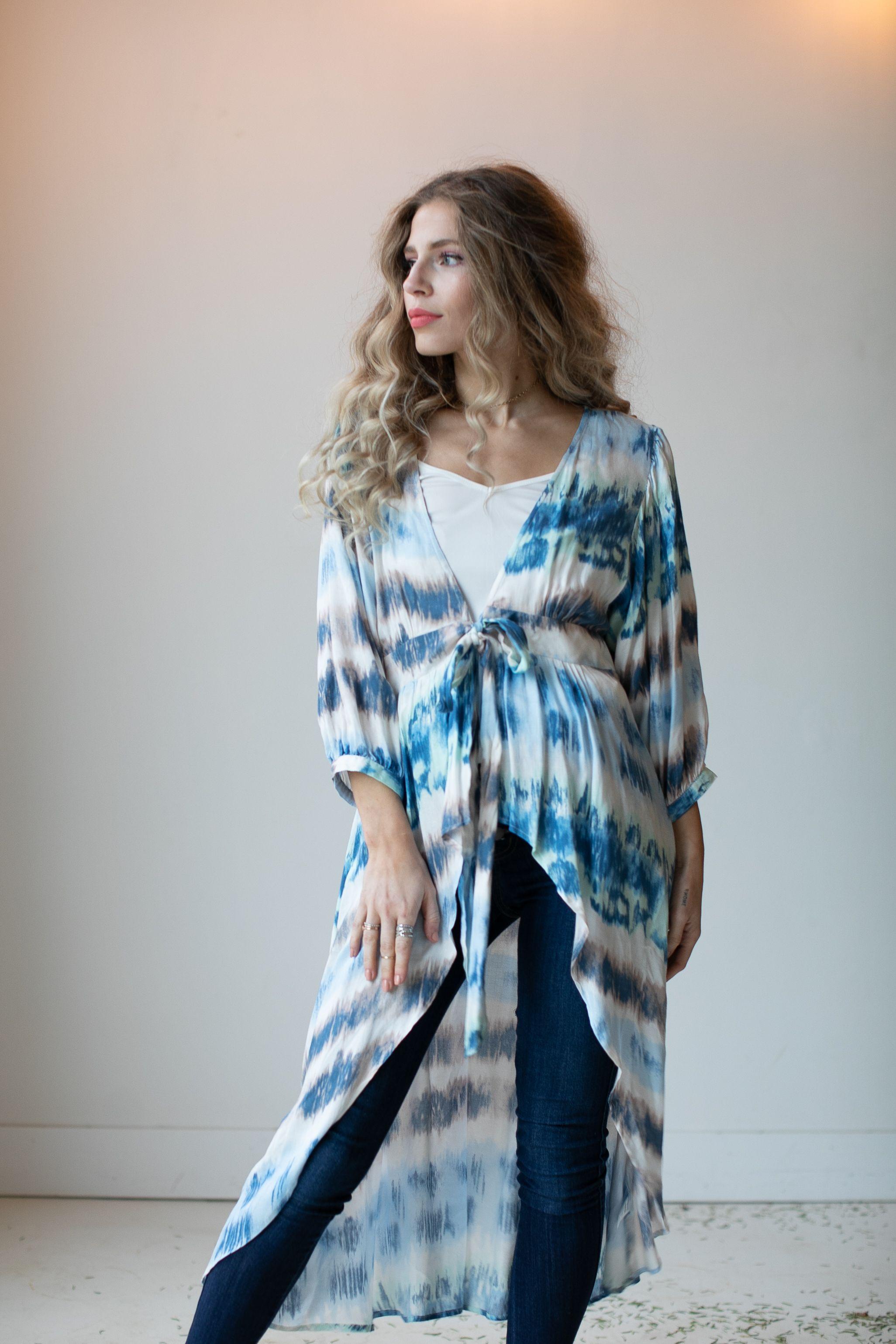 Tie Dye Kimono -Blue/Ivory - Front