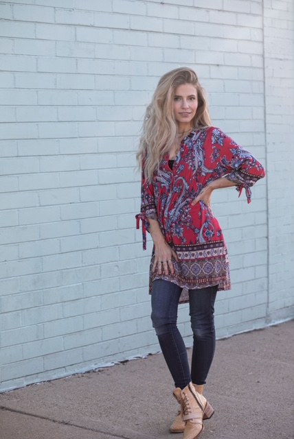 Border Paisley Knit Tunic with Ruched Sleeves -RED/TEAL - Front