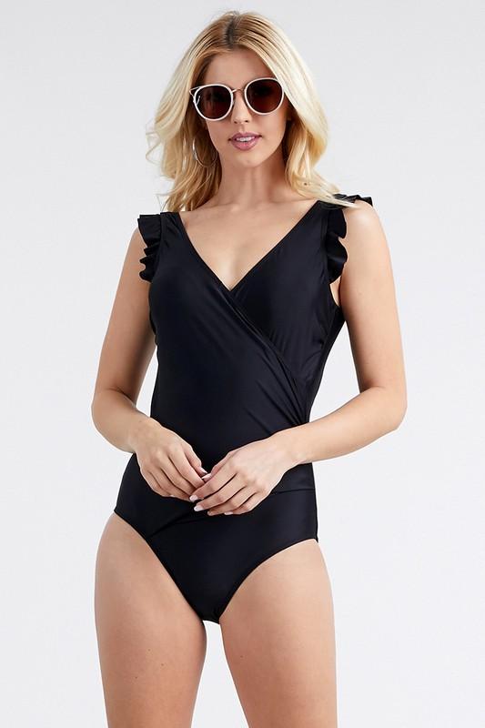 V-Neck Swimsuit With Flirty Shoulder Ruffle -Black - Front
