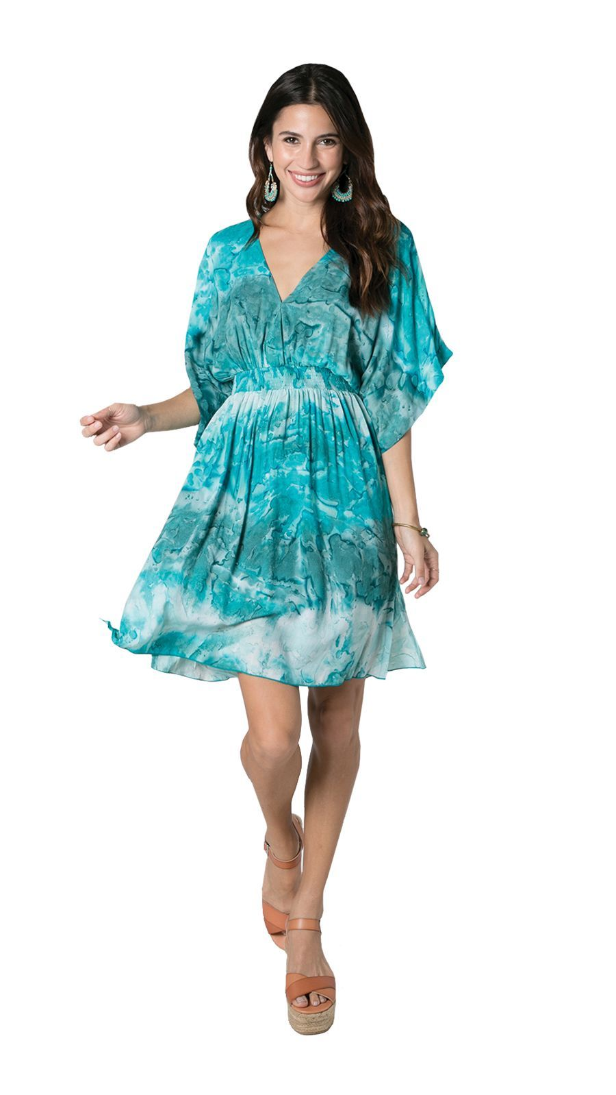 Flynn Dress -Teal Tie Dye - Front