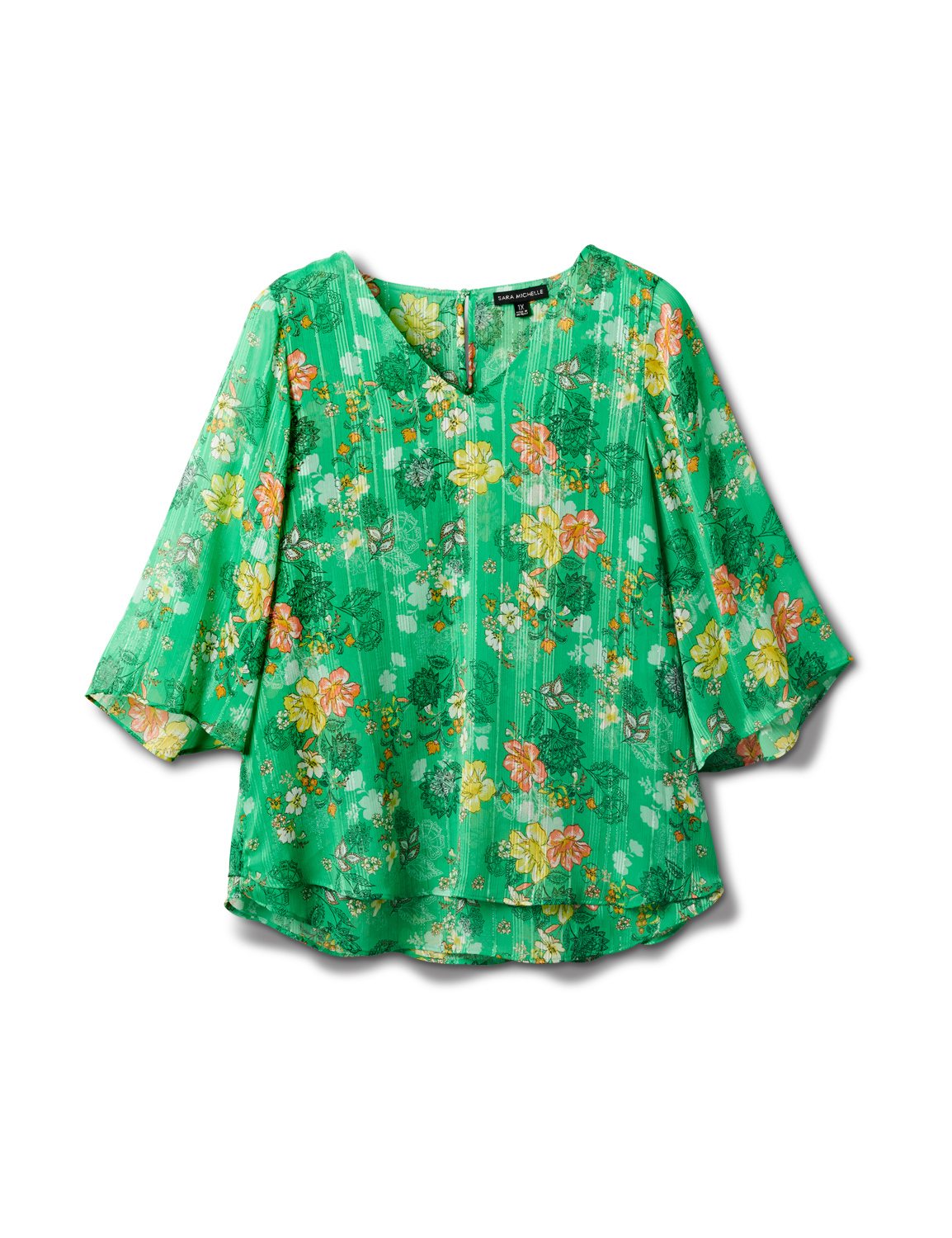 Green Floral Fly Away Back Blouse -Green - Front