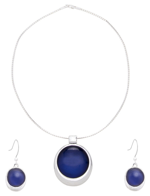 Stone Drop Pendant Set -Silver/Blue - Front