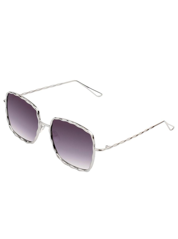 Fashionable Square Sunglasses - Silver-Purple - Front