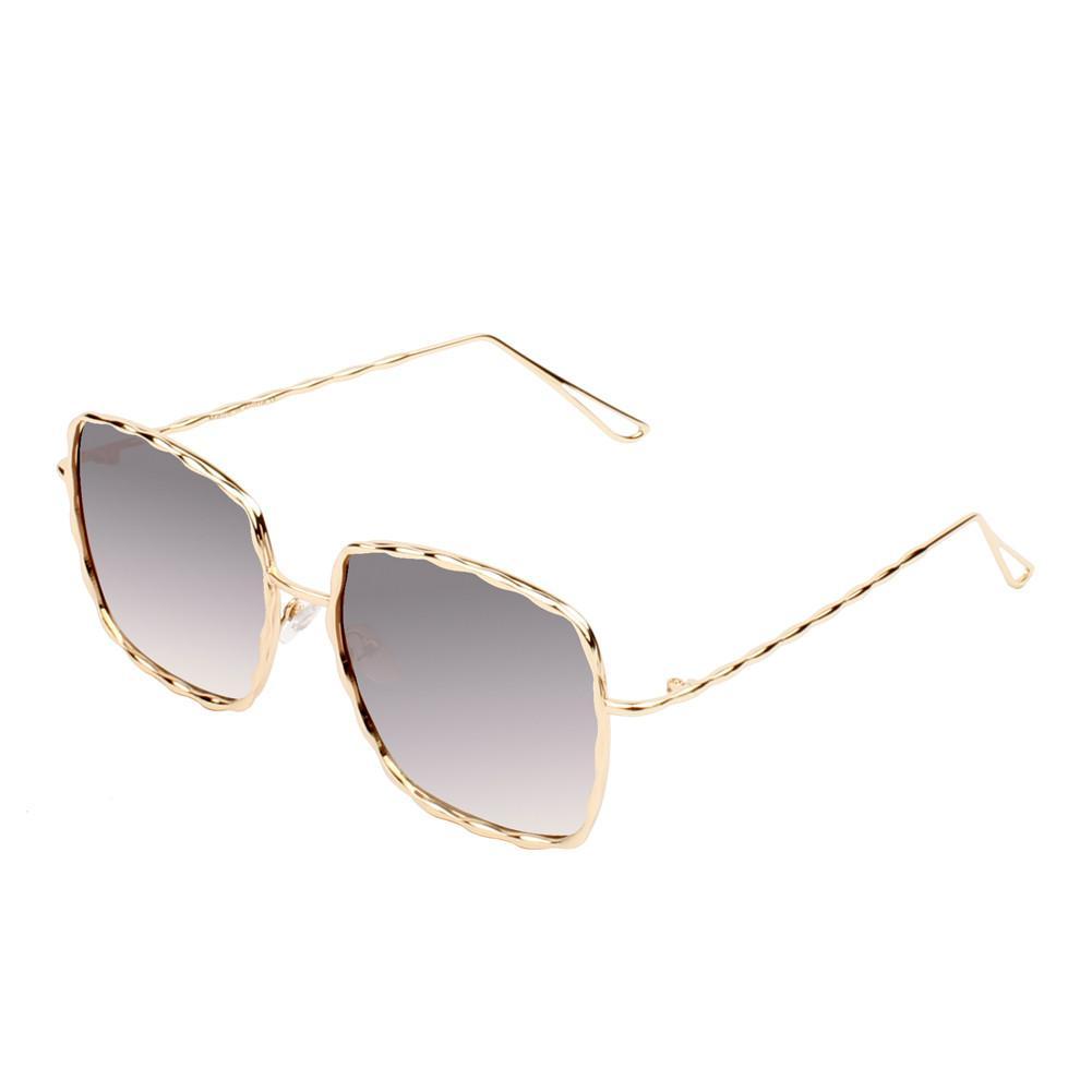 Fashionable Square Sunglasses -Gold-Silver - Front