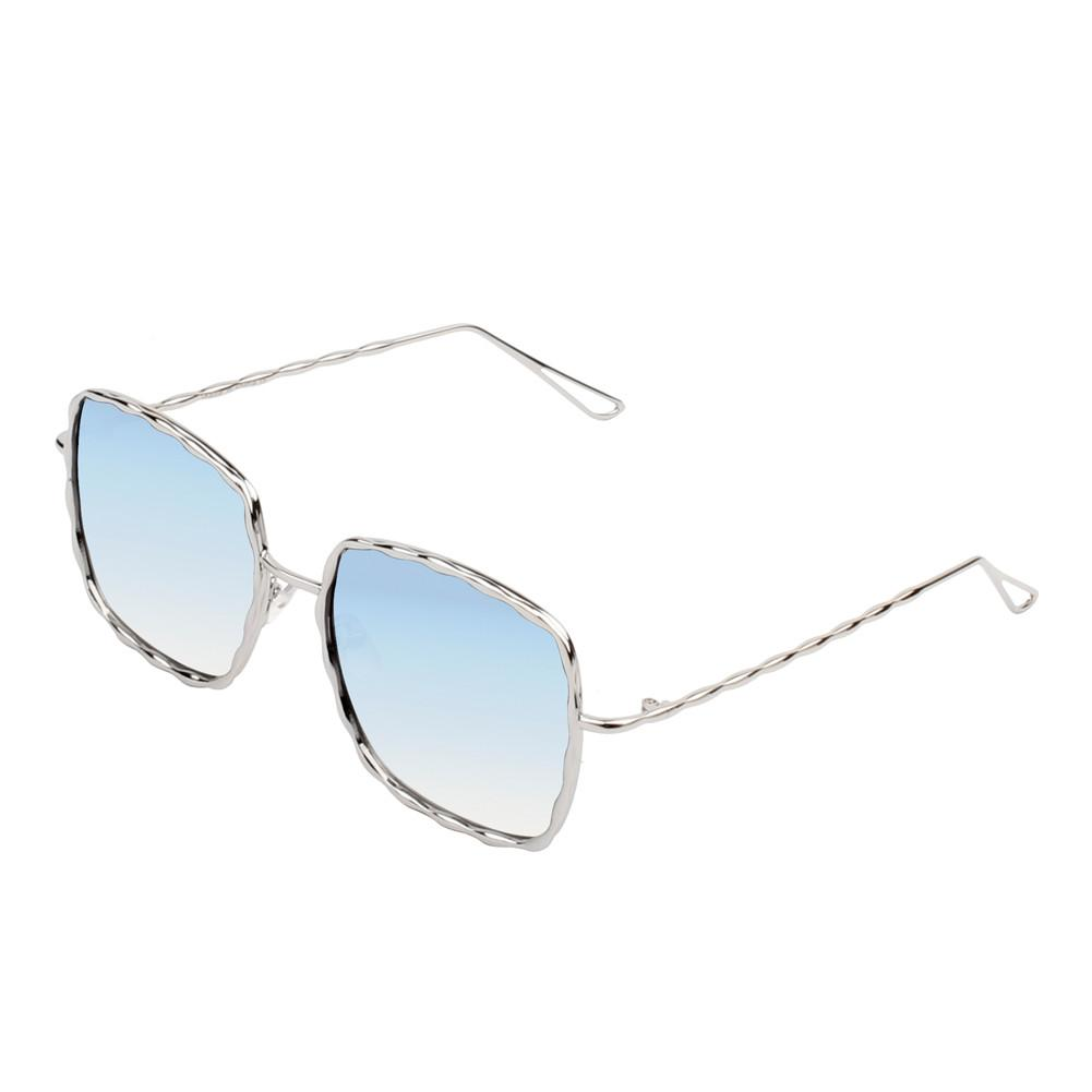 Fashionable Square Sunglasses -Silver-Light Blue - Front