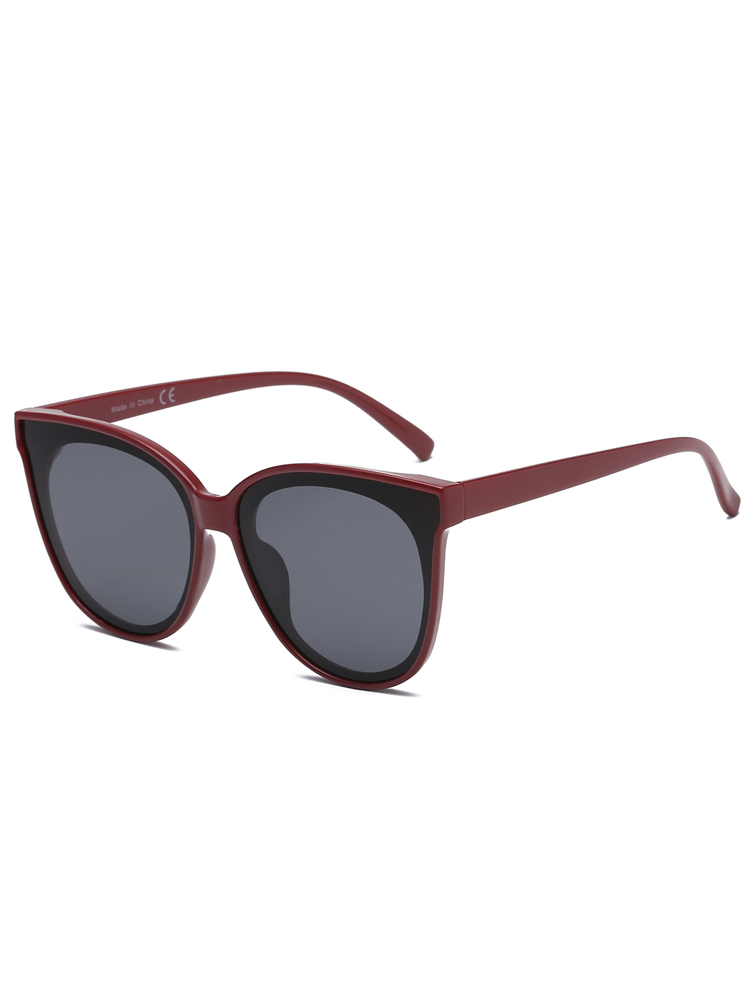 Round Cat-Eye Sunglasses - Maroon - Front