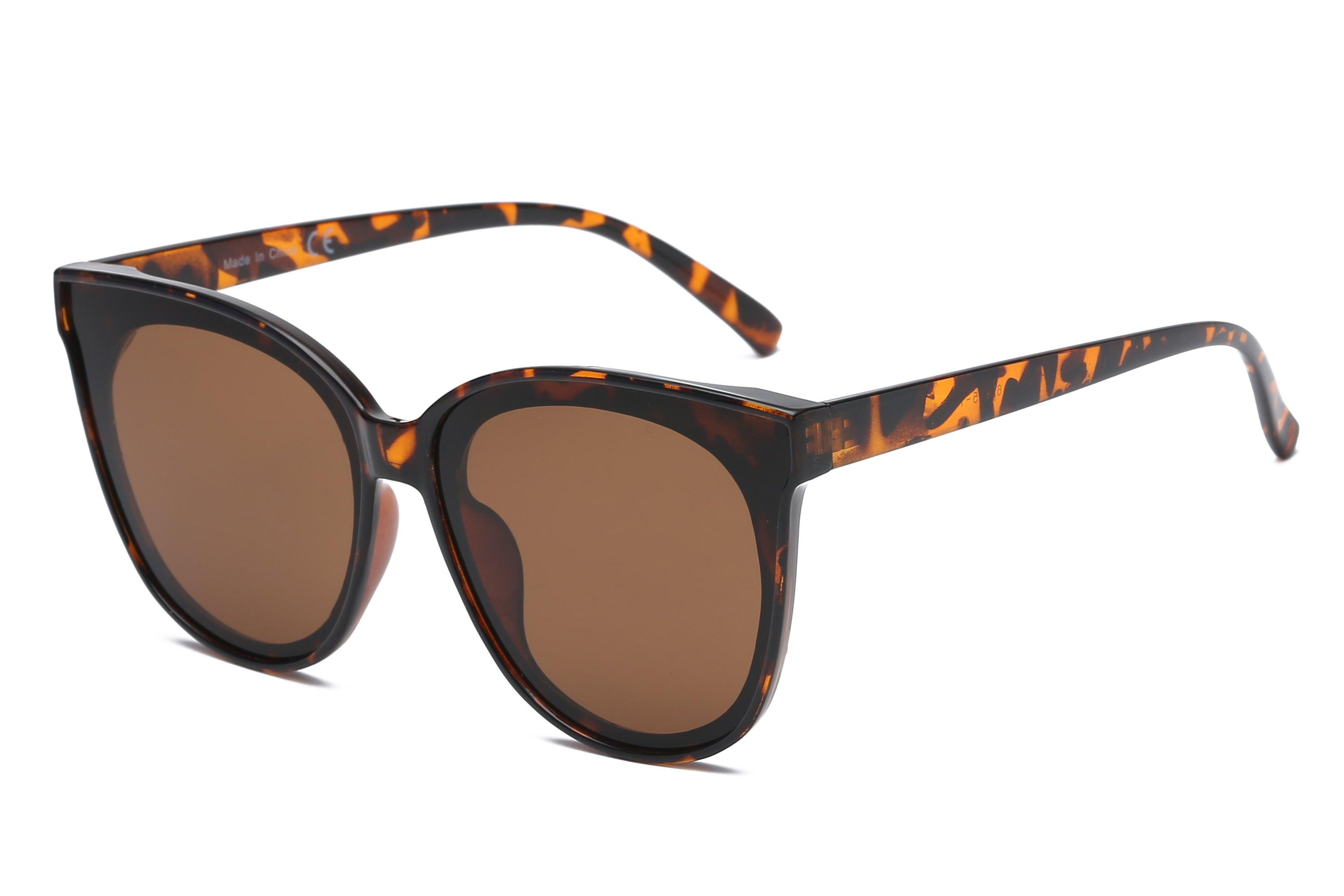Round Cat-Eye Sunglasses -Tortoise - Front