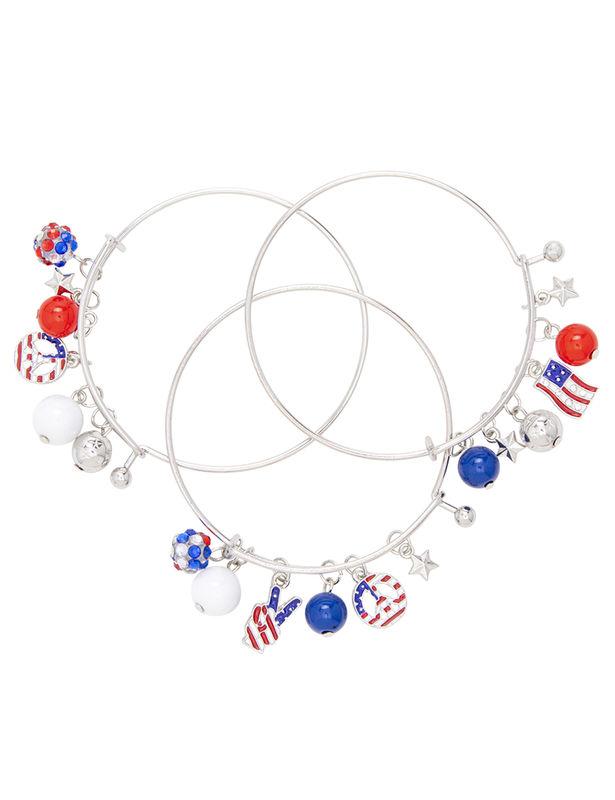 Americana Charm Bangle Bracelet Trio Set -Silver - Front