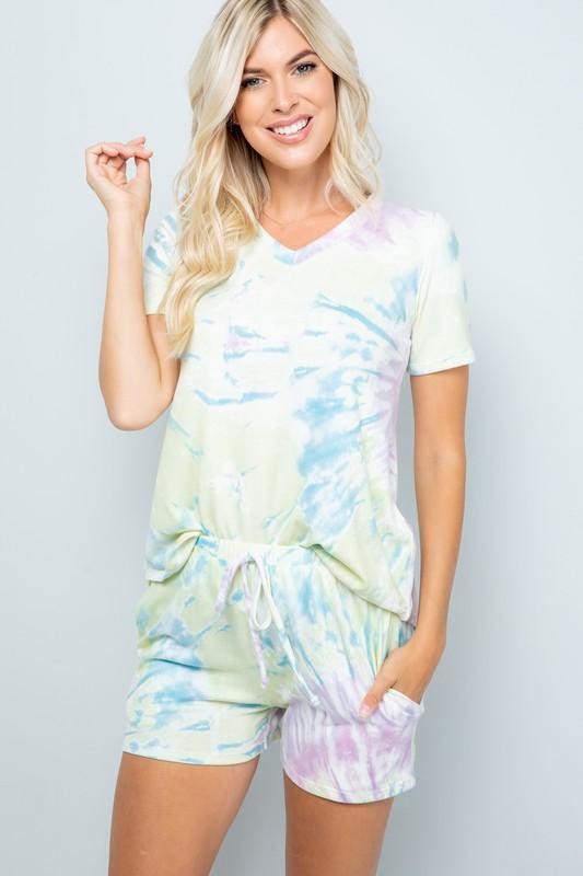 Vibrant Tie Dye Print Shorts - Yellow - Front