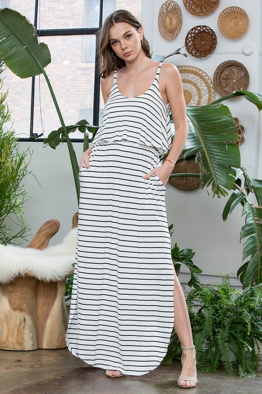 Striped Maxi Dress -Ivory / Black - Front