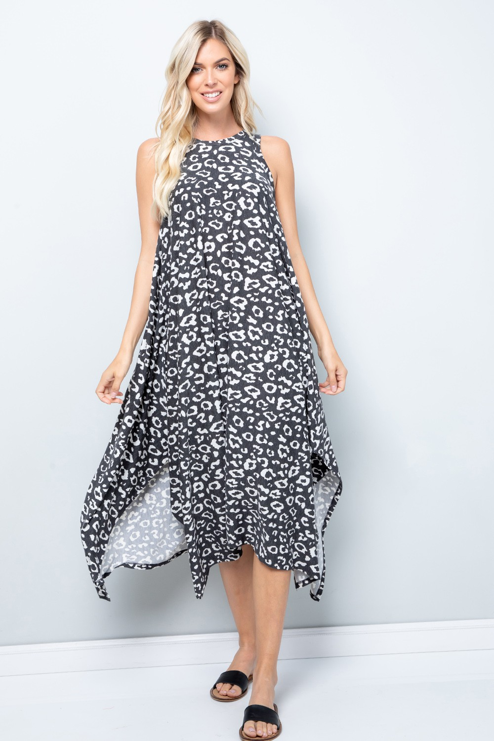 Leopard Tank Dress W/ Handkerchief Hem -Black / Ivory - Front