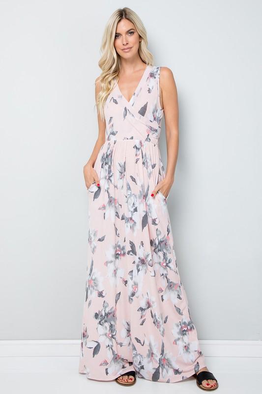 Floral Print Maxi Dress -Blush - Front