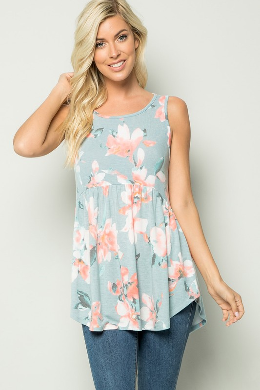 Floral Tunic Top -Blue - Front