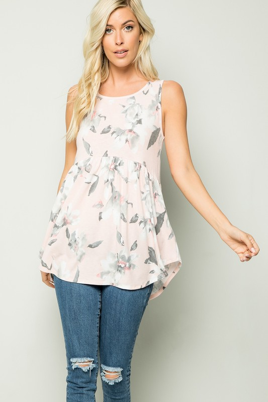 Floral Tunic Top -Blush - Front