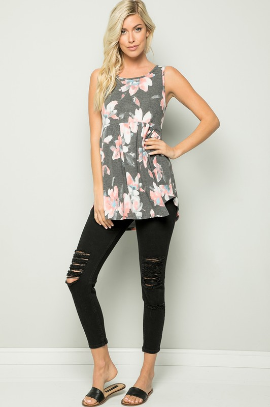 Floral Tunic Top - Charcoal - Front