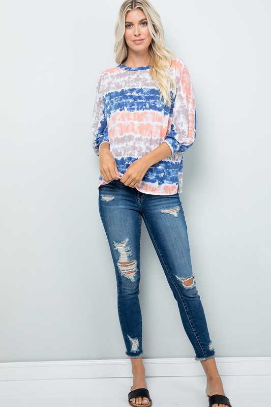 Vibrant Light-Colored Tie Dye Top -Ink blue - Front