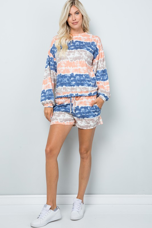Tie Dye Pullover Top -Ink blue - Front