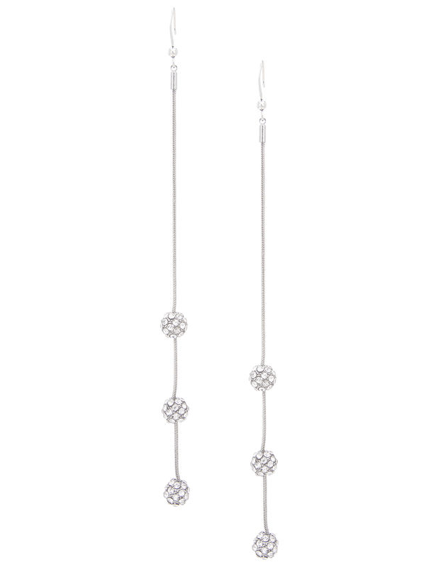 Pave Fireball Chain Linear Post Earring -Silver - Front