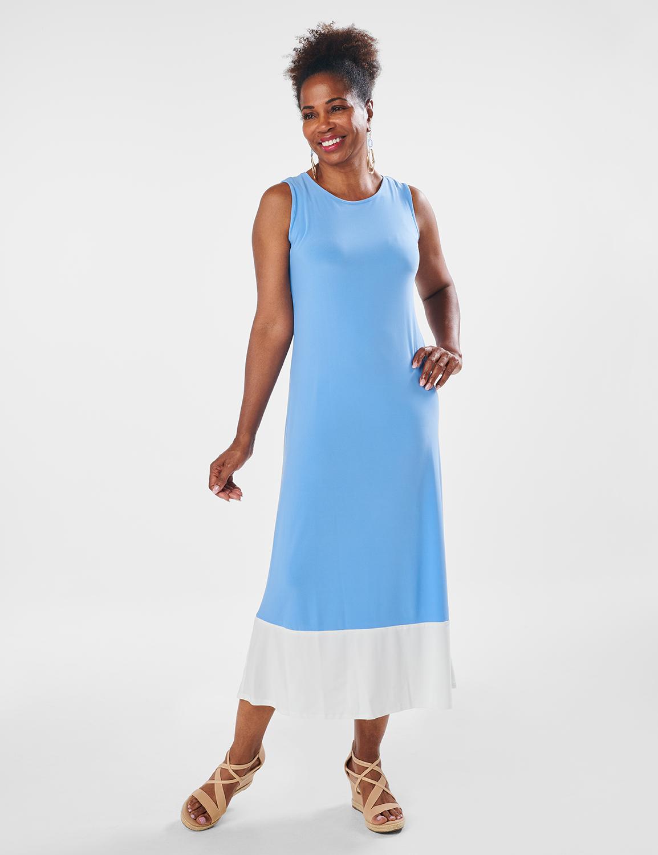 Color Block Maxi Dress -Chambray - Front