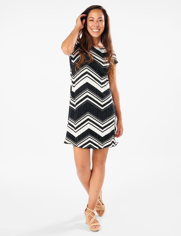 Chevron Knit Dress -Black/White - Front