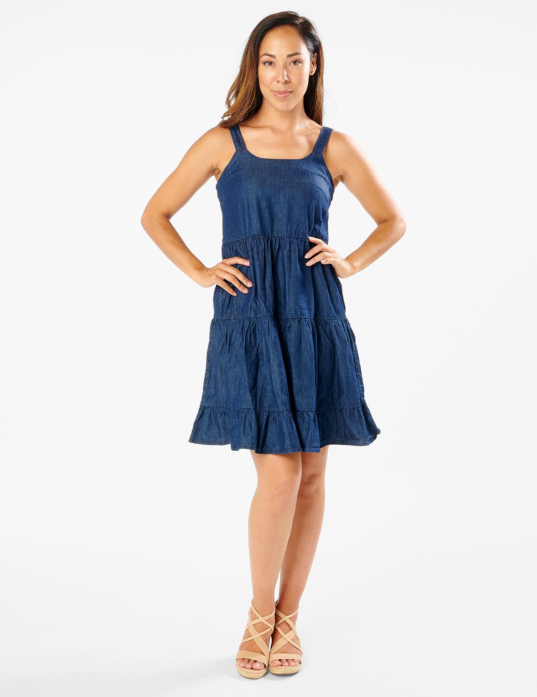 Denim Tiered Tank Dress -Dark Wash - Front