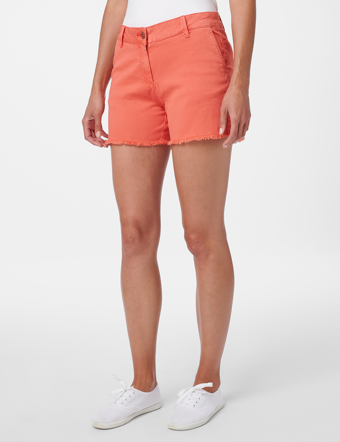Fly Front Slash Pocket Short with Fray Hem - Watermelon - Front