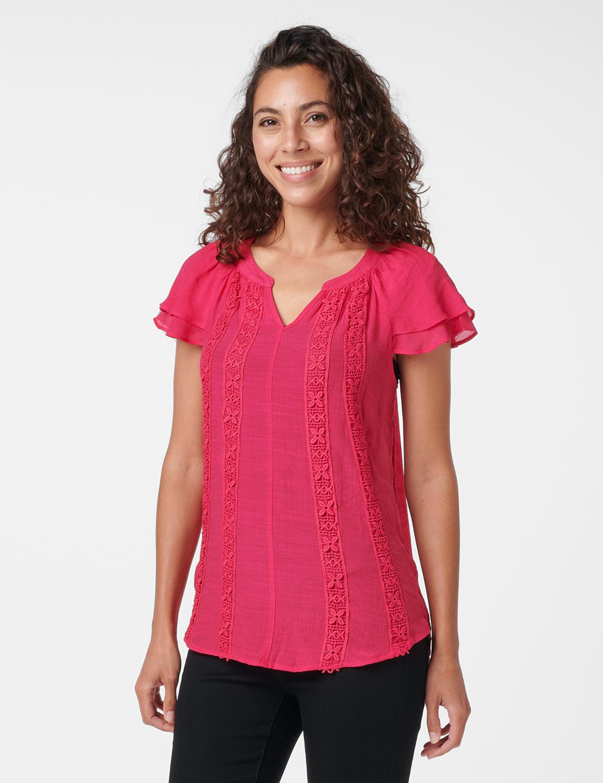 Crochet Trim Flutter Sleeve Textured Woven Top -Fuschia - Front