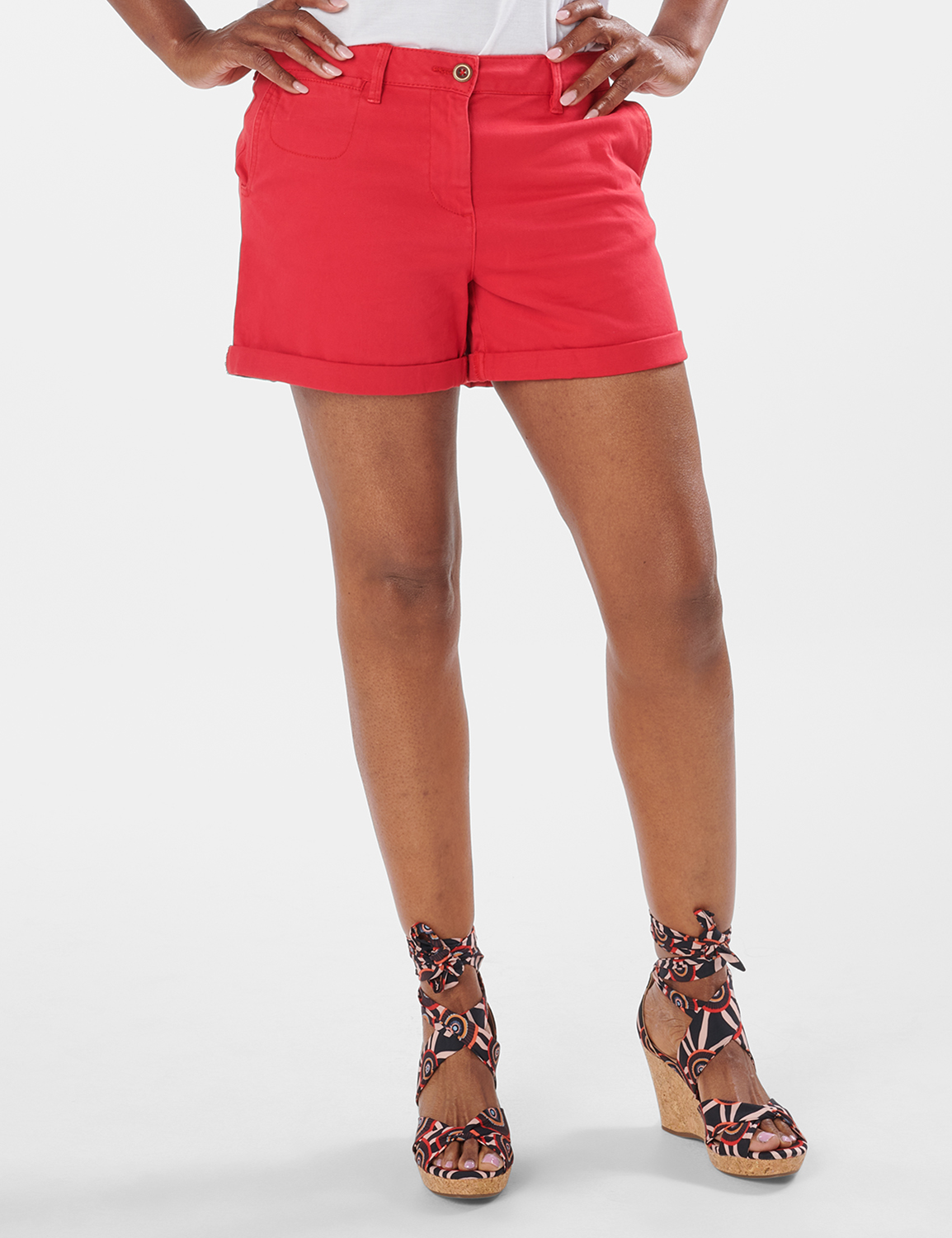 Fly Front Slash Pocket Shorts with Rolled Cuffs -Red - Front