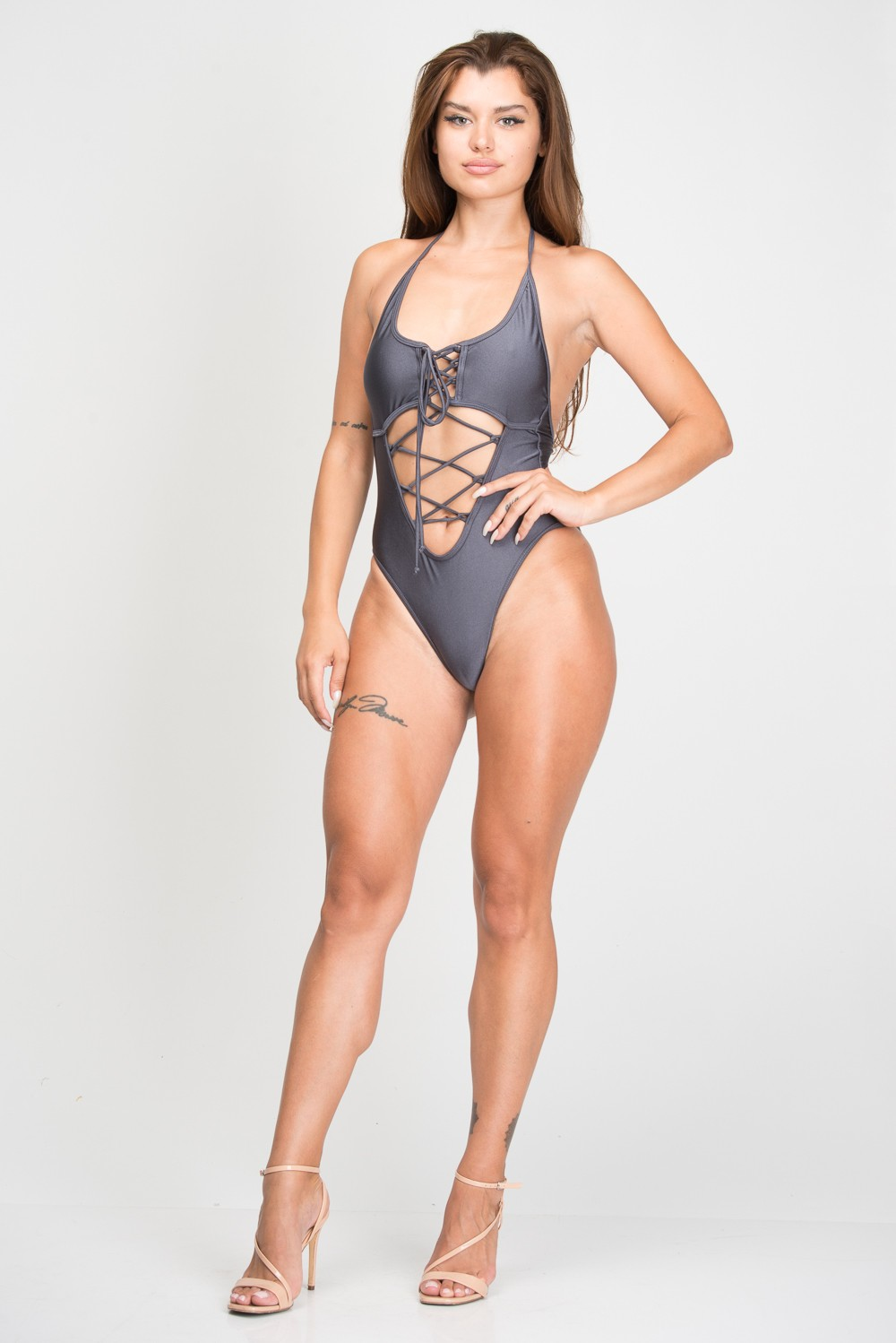 One Piece Halter Top Corset Tie Swimsuit -Grey - Front
