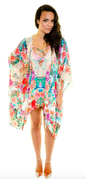 Boho Floral Swim Cover-up -Multi - Front