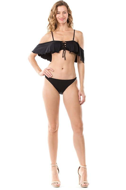 Two-Piece Ribbed Off-Shoulder Bikini -Black - Front