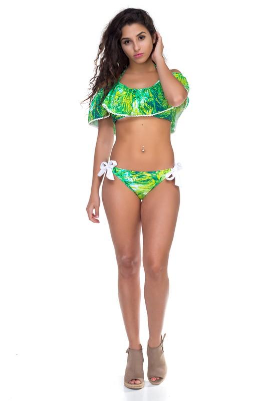 Off-Shoulder Floral Bikini -Green - Front