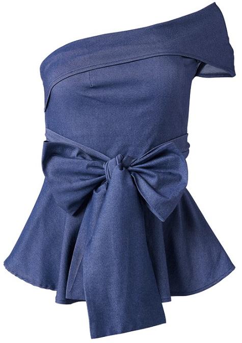 Off the Shoulder Tie Waist Top -Blue - Front
