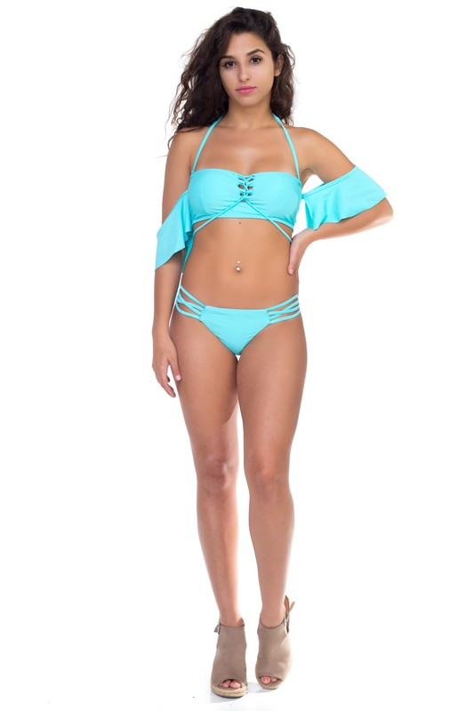 Two Piece Off-Shoulder Strappy Bikini - Blue - Front