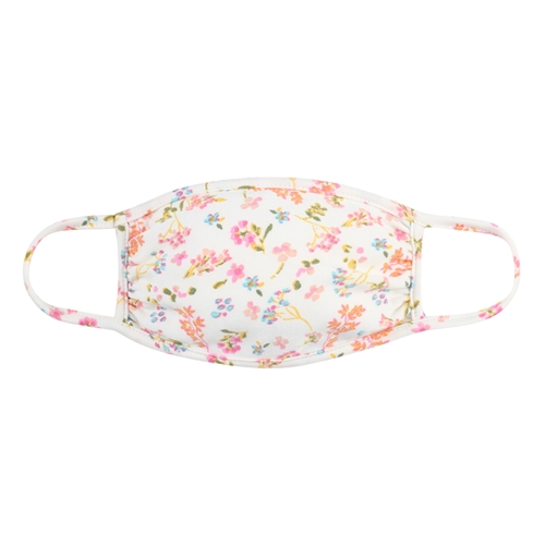 Floral Pastel Ditsy Fashion Face Mask -Ivory/Pink - Front