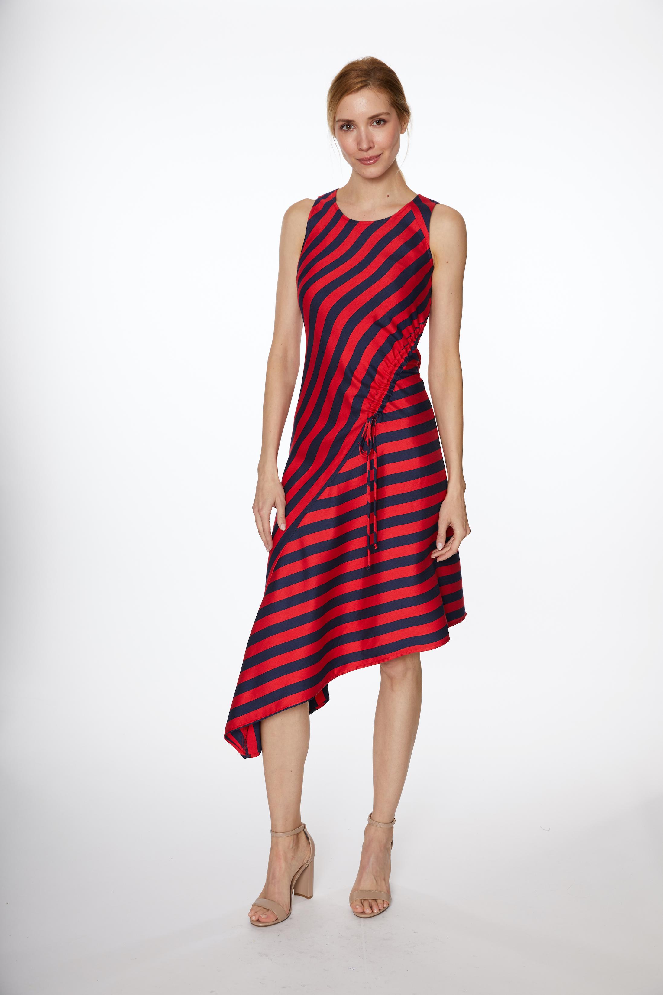 Asymmetrical Stripe Drawstring Dress -Navy/Red - Front