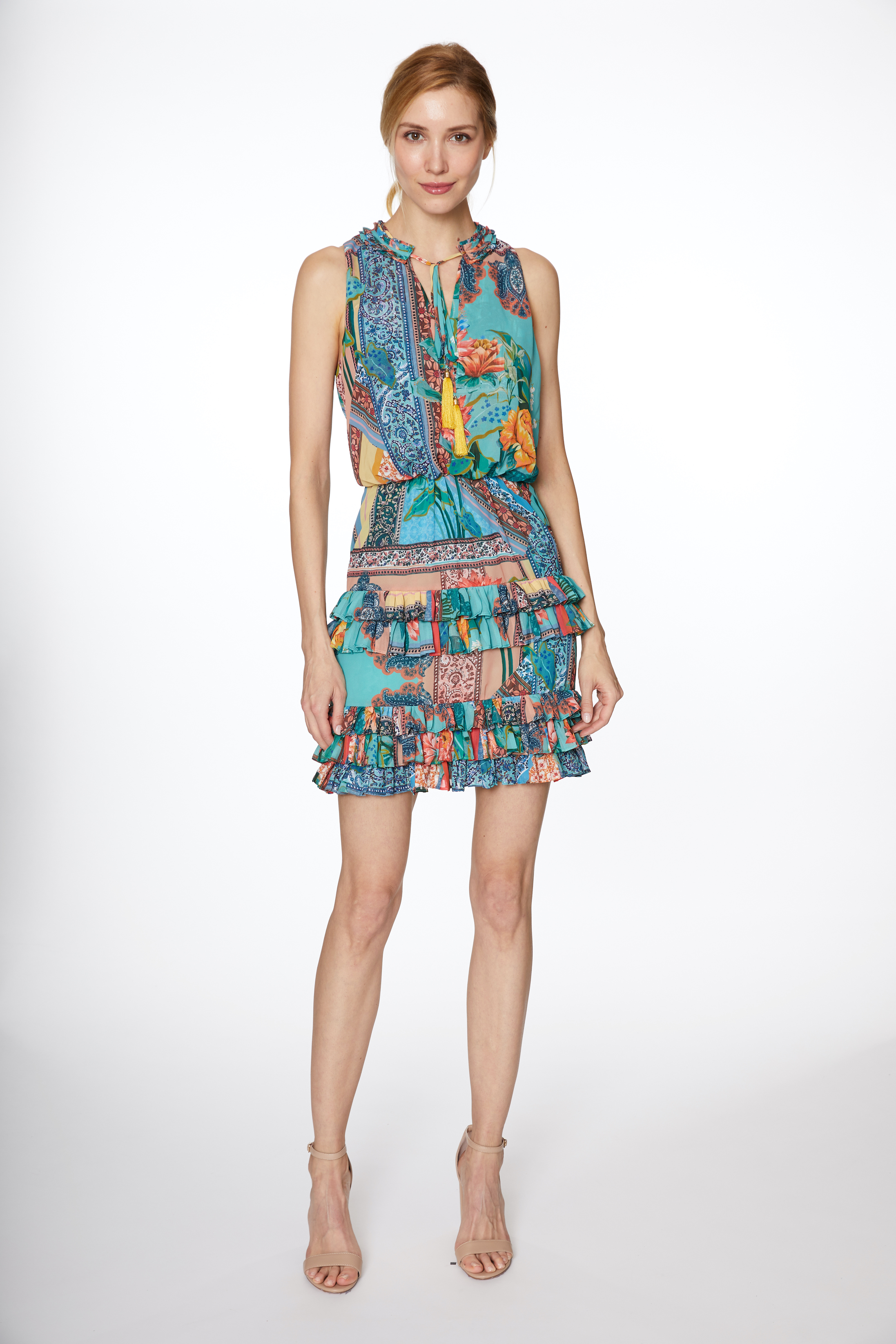 Floral Chiffon Ruffle Tier Dress -Multi - Front