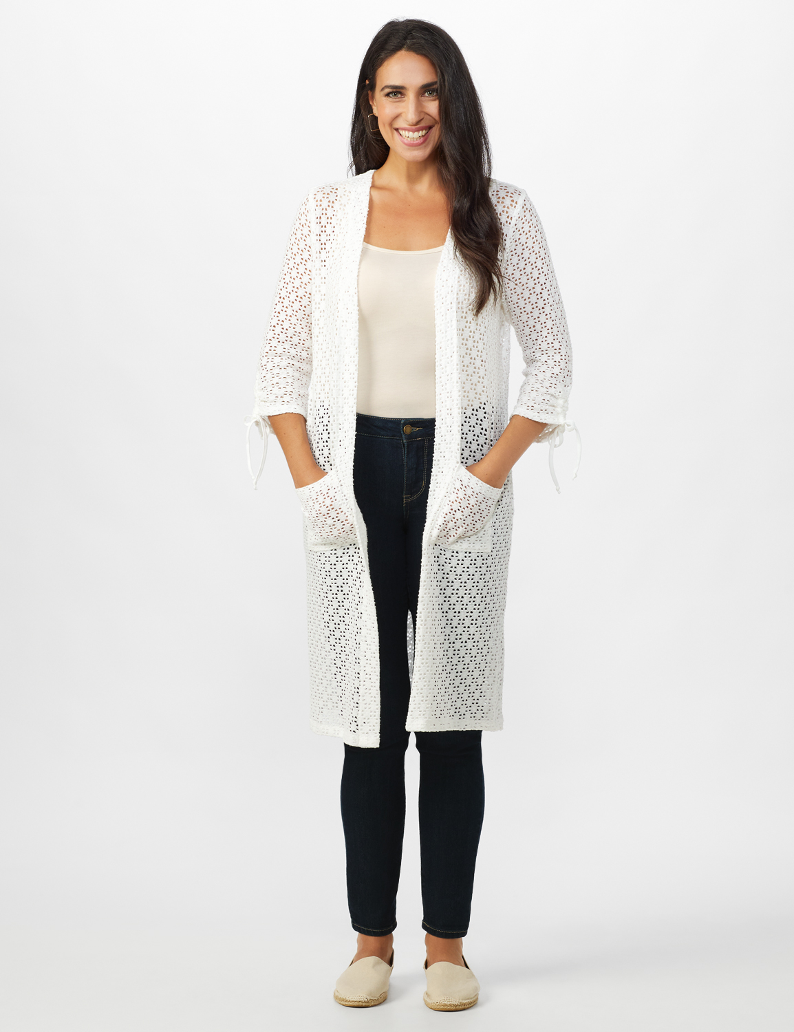Shirred Sleeve 2 Pocket Duster -White - Front