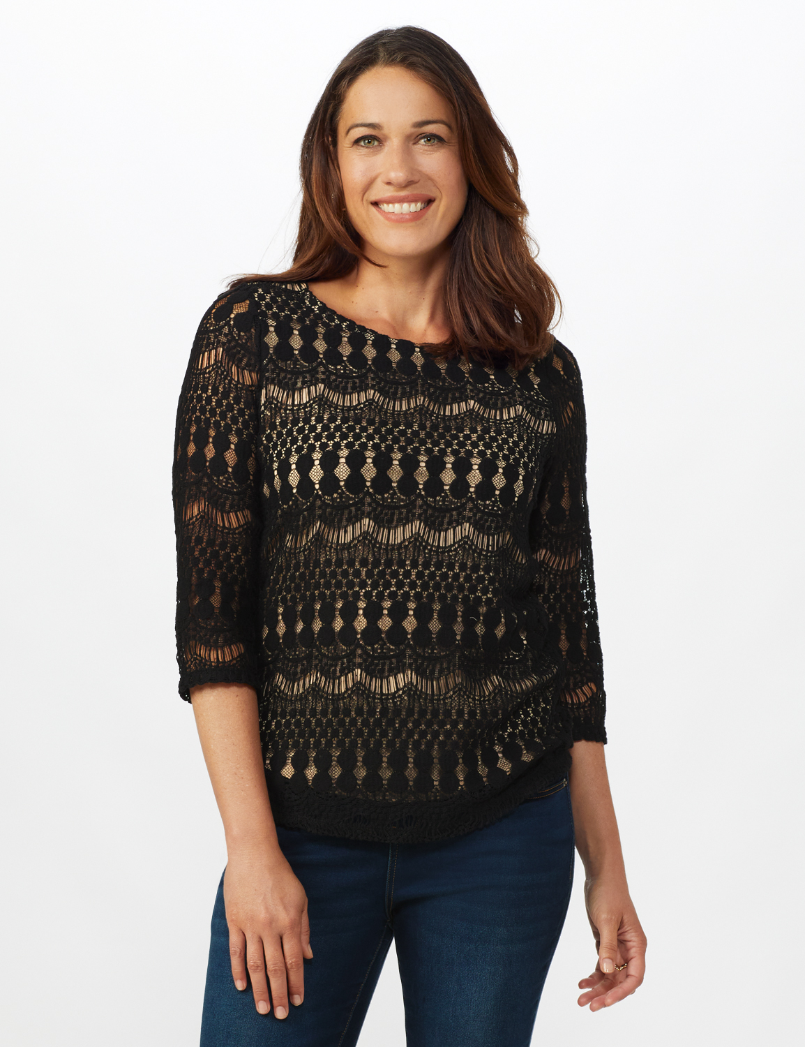 Lined Lace Knit Top -Black/Nude - Front