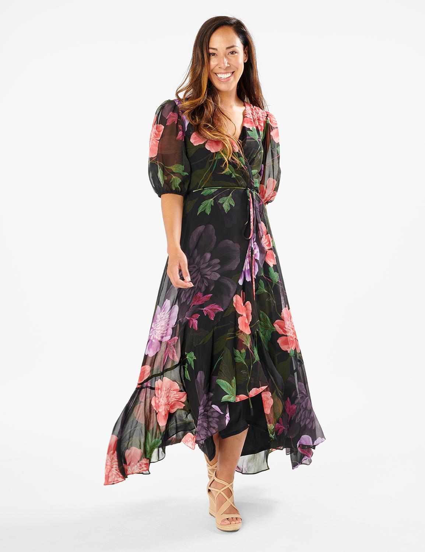 Large Floral Ruffle Dress - Misses -black/lilac - Front