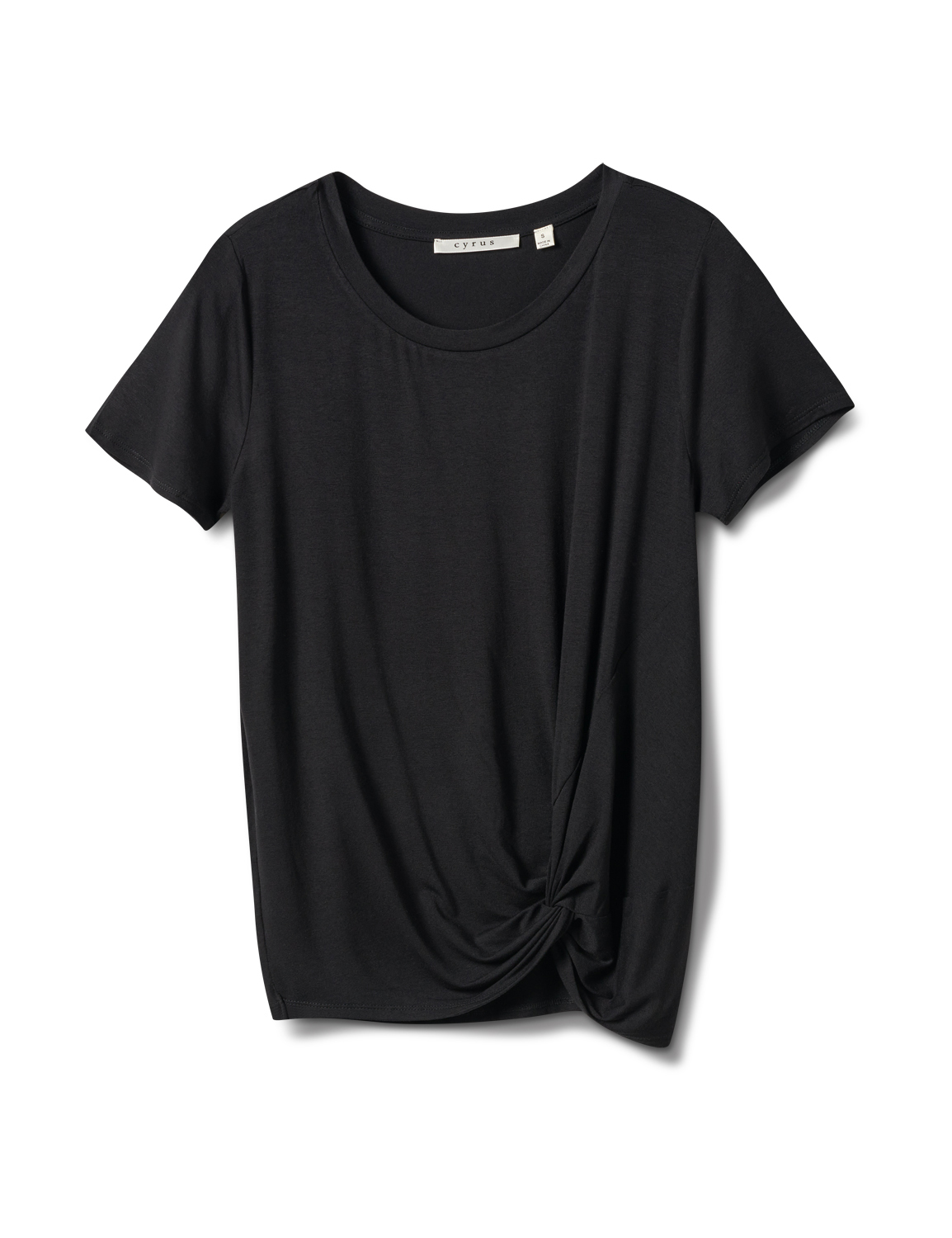 Knot Front Rayon Span Knit Tee -Black - Front