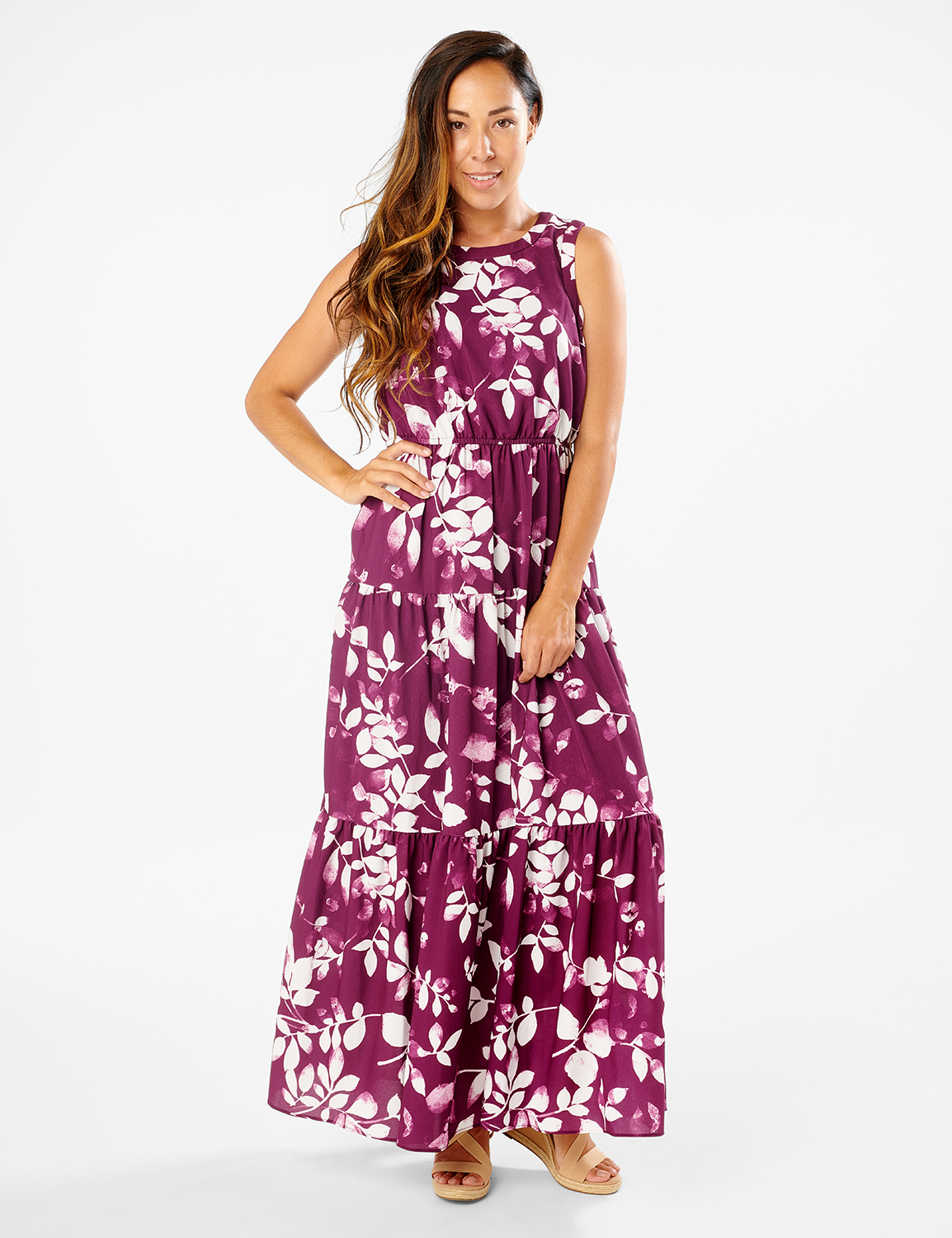 Leaf Print Tiered Maxi Dress -Pickled Beet/Ivory - Front