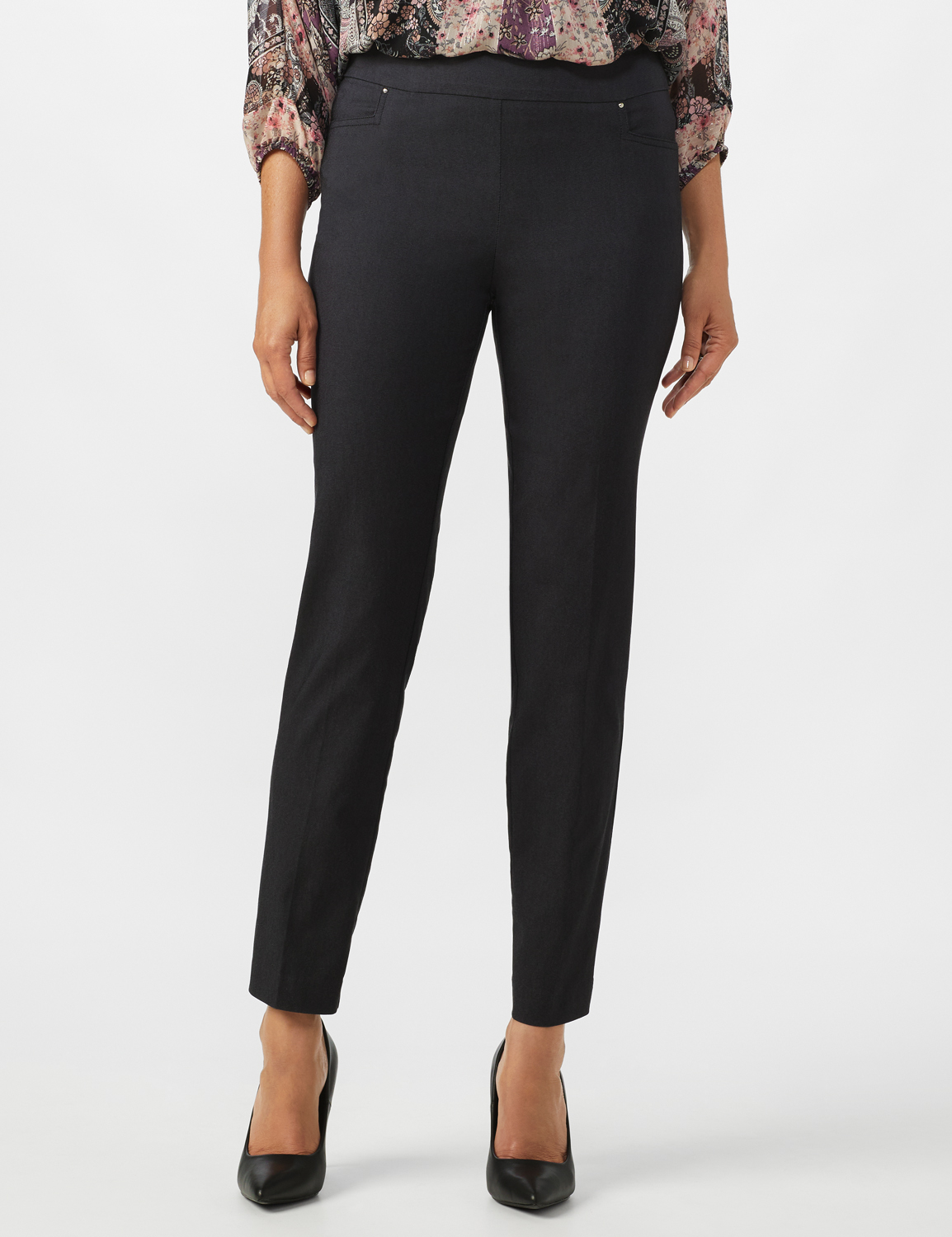 Superstretch Pull On Pants with Rivet Trim L Pockets - Black denim - Front