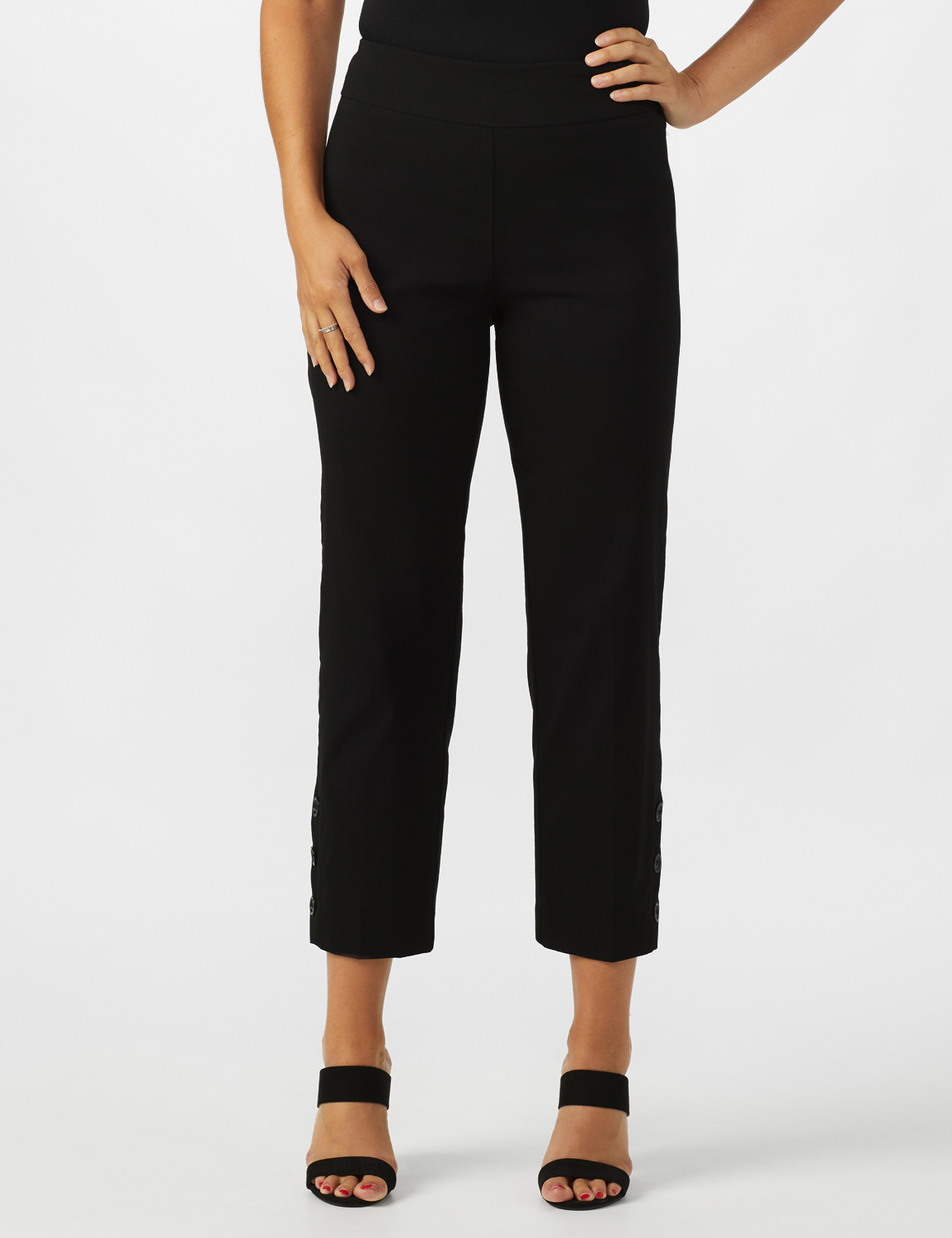 Superstretch Ankle Pants with Button Detail at the Hem -Black - Front