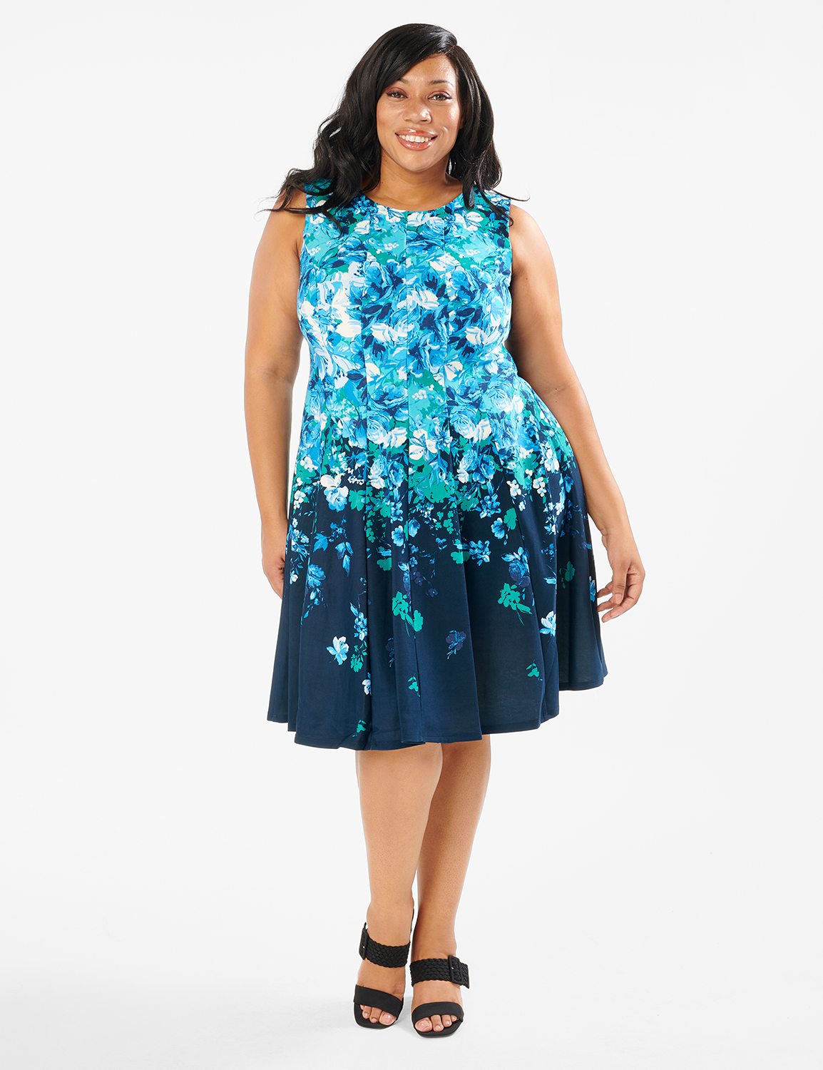 Falling Floral Fit and Flare Dress - Plus -Navy/Teal - Front