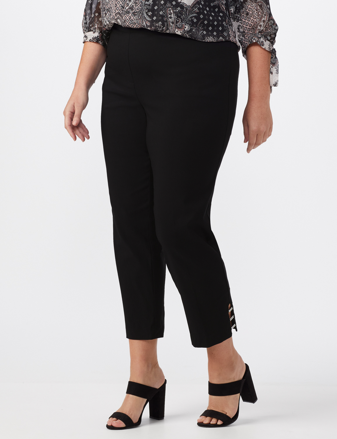 Pull On Crop Ankle Pants with Novelty Rhinestone Trim at Hem -Black - Front