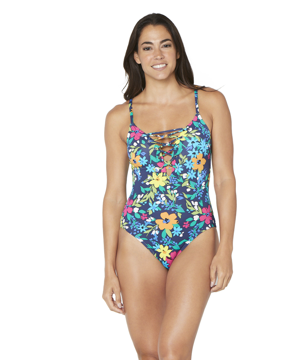 Nautica® Tropical Floral Lace-Up One Piece Swimsuit - Deep Sea - Front