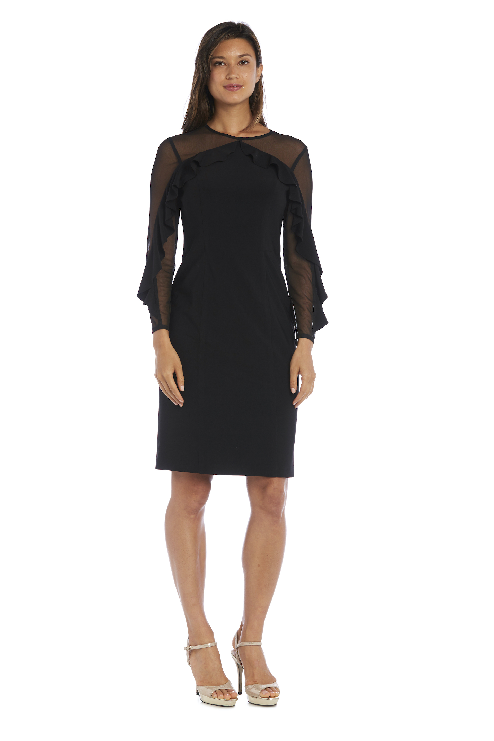 Illusion Sleeve Dress -Black - Front